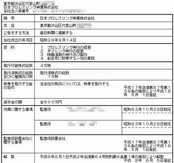 日本プロレス登記簿